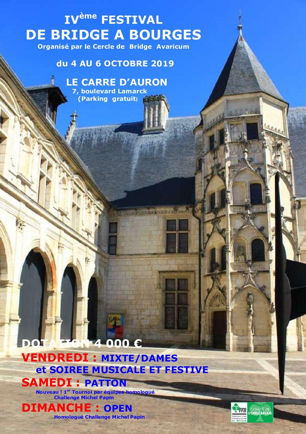 Programme 4ème festival de bridge du 4 au 6 octobre à Bourges