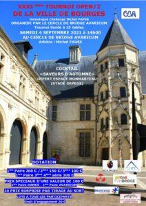 XXXIéme TOURNOI DE LA VILLE DE BOURGES <br> à 14h00 @ CLUB