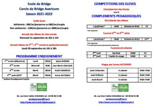 REPRISE DES COURS ECOLE DE BRIDGE